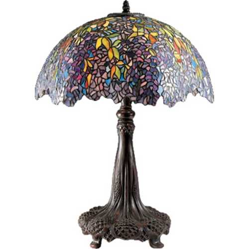 Quoizel Lighting Table Lamp with Tiffany Glass in Architectural Bronze Finish TF6034R