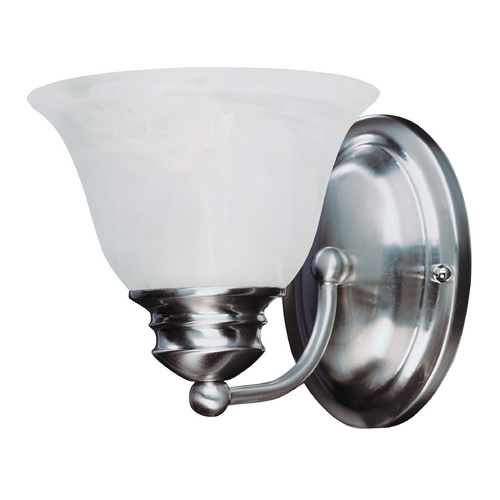 Maxim Lighting Sconce Wall Light with Alabaster Glass Shade in Satin Nickel Finish 2686MRSN