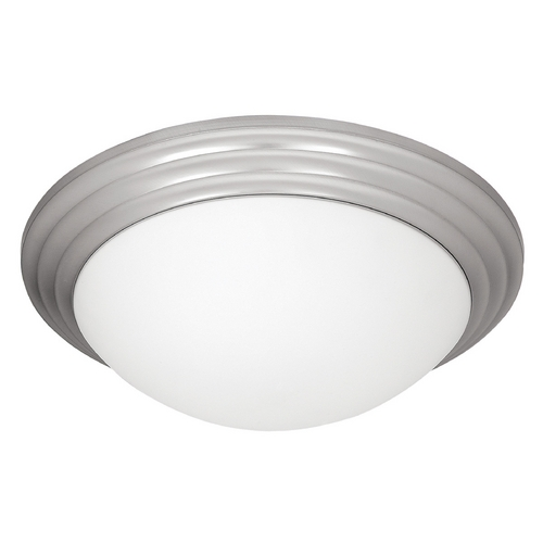 Access Lighting Modern Flushmount Light with White Glass in Brushed Steel Finish 20651-BS/OPL