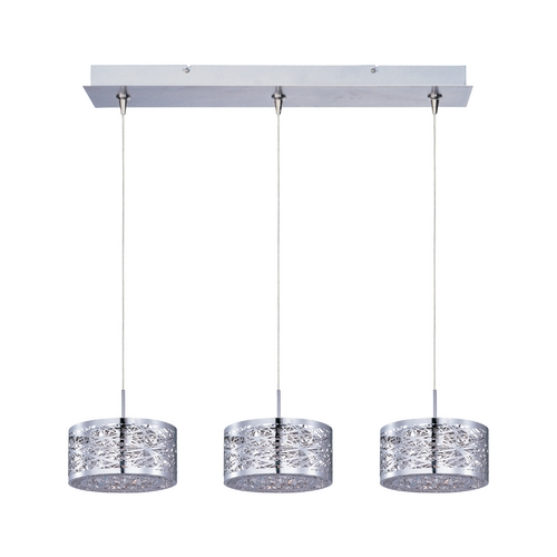 ET2 Lighting Modern Low Voltage Multi-Light Pendant Light with Silver Cage Shades and 3-Lights E94845-10PC