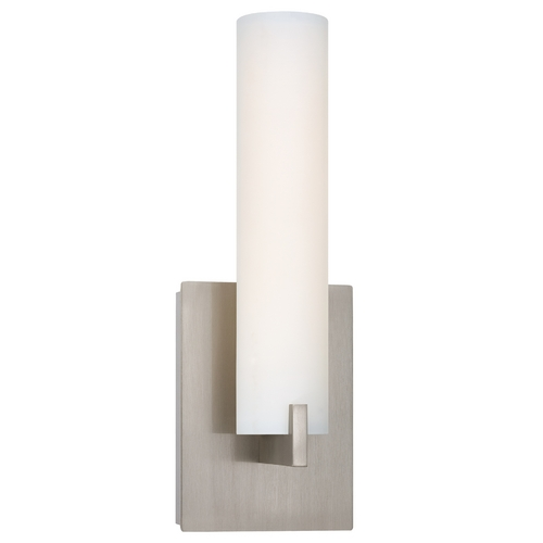George Kovacs Lighting Modern LED Sconce Wall Light with White Glass in Brushed Nickel Finish P5040-084-L