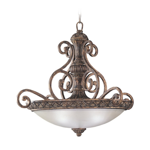 Sea Gull Lighting Pendant Light with White Glass in Regal Bronze Finish 65252-758