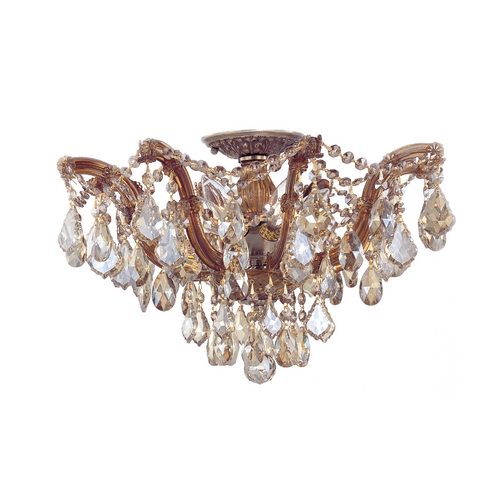 Crystorama Lighting Crystal Semi-Flushmount Light in Antique Brass Finish 4437-AB-GTS