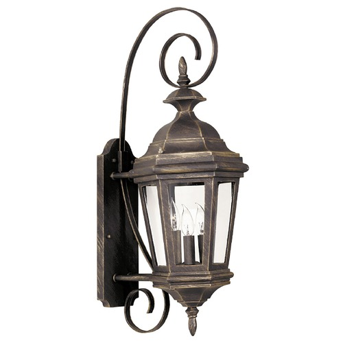 Kenroy Home Lighting Outdoor Wall Light with Clear Glass in Antique Patina Finish 16313AP