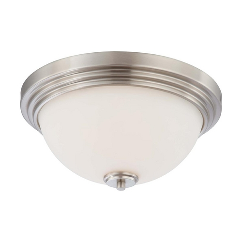 Nuvo Lighting Modern Flushmount Light with White Glass in Brushed Nickel Finish 60/4111