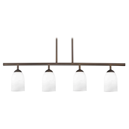 Design Classics Lighting Modern Island Light with White Glass in Neuvelle Bronze Finish 718-220 GL1028D