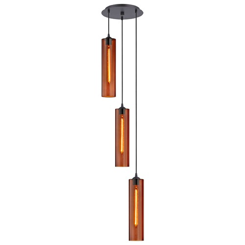 Design Classics Lighting Bronze Multi-Light Pendant with Cylindrical Shade 583-220 GL1651C