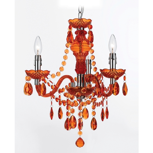 AF Lighting Mini-Chandelier in Orange Finish 8500-3H