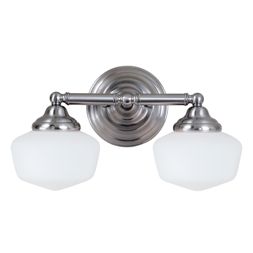 Sea Gull Lighting Schoolhouse Bathroom Light with White Glass in Brushed Nickel Finish 44437BLE-962