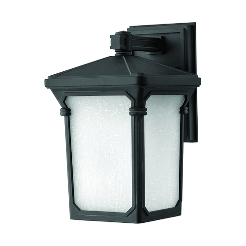 Hinkley Lighting LED Outdoor Wall Light with White Glass in Museum Black Finish 1350MB-LED