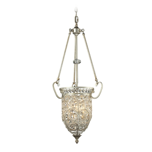 Elk Lighting Crystal Pendant Light in Aged Silver Finish 11692/3