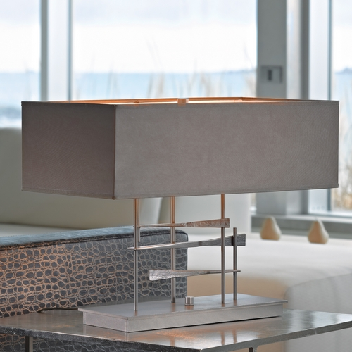 Hubbardton Forge Lighting Hubbardton Forge Lighting Cavaletti Burnished Steel Table Lamp with Rectangle Shade 277670-SKT-08-SD2010