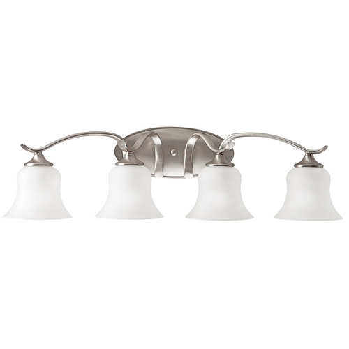 Kichler Lighting Kichler Bathroom Light with White Glass in Brushed Nickel Finish 5287NI