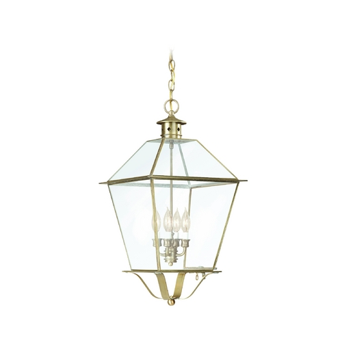 Troy Lighting Outdoor Hanging Light with Clear Glass in Charred Iron Finish FCD8962CI
