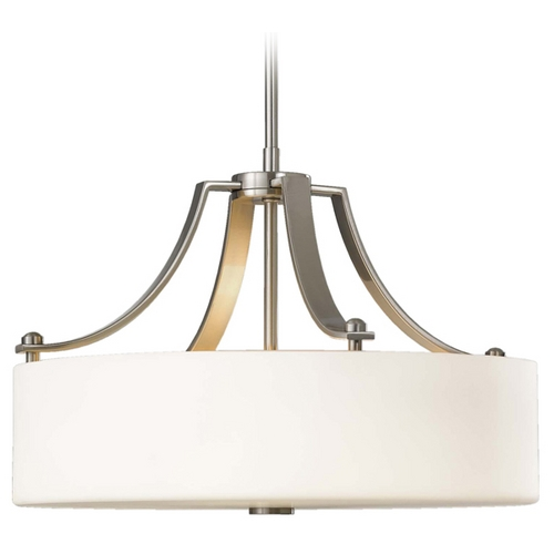 Sea Gull Lighting Modern Drum Pendant Light with White Glass in Brushed Steel Finish F2404/3BS