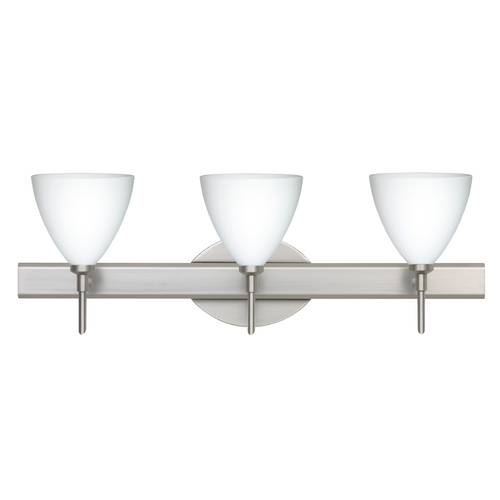 Besa Lighting Modern Bathroom Light White Glass Satin Nickel by Besa Lighting 3SW-177907-SN