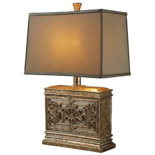 Elk Lighting Table Lamp with Brown Shade in Courtney Gold Finish D1443