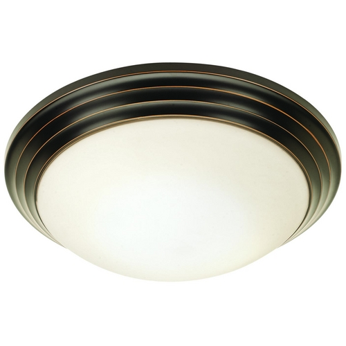Access Lighting Modern Flushmount Light with White Glass in Oil Rubbed Bronze Finish 20651-ORB/OPL