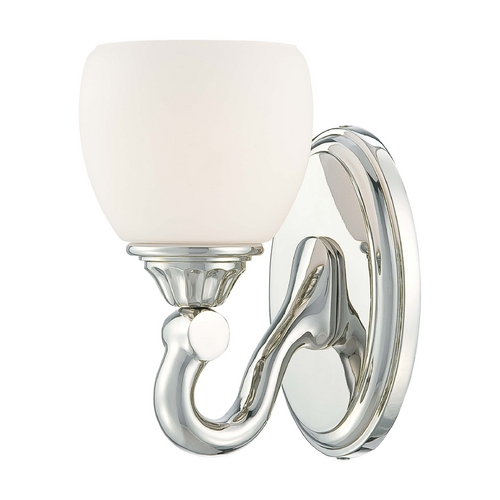 Metropolitan Lighting Sconce Wall Light with White Glass in Polished Nickel Finish N2821-613