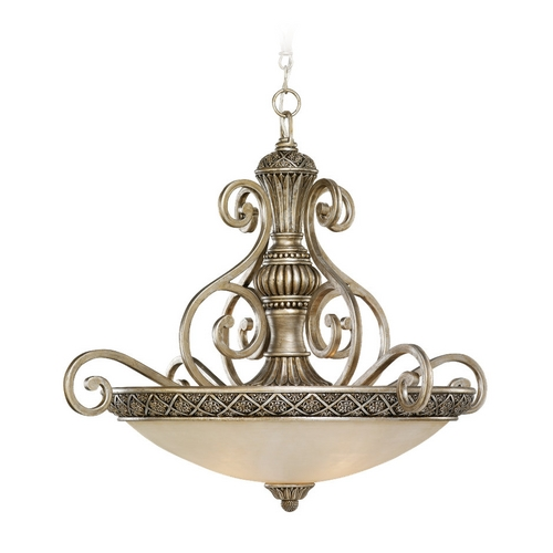 Sea Gull Lighting Pendant Light with White Glass in Palladium Finish 65252-824