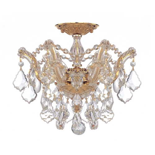 Crystorama Lighting Crystal Semi-Flushmount Light in Polished Gold Finish 4430-GD-CL-MWP