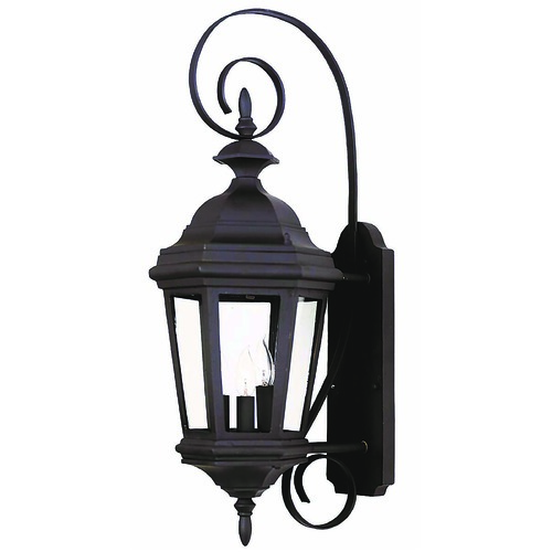 Kenroy Home Lighting Outdoor Wall Light with Clear Glass in Black Finish 16313BL