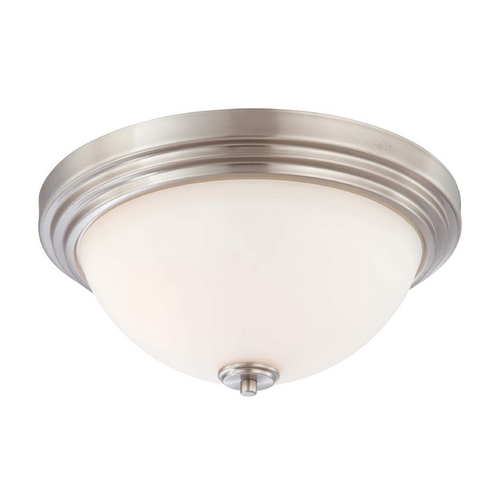 Nuvo Lighting Modern Flushmount Light with White Glass in Brushed Nickel Finish 60/4112