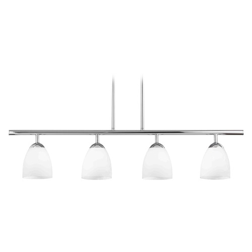 Design Classics Lighting Modern Island Light with White Glass in Chrome Finish 718-26 GL1028MB