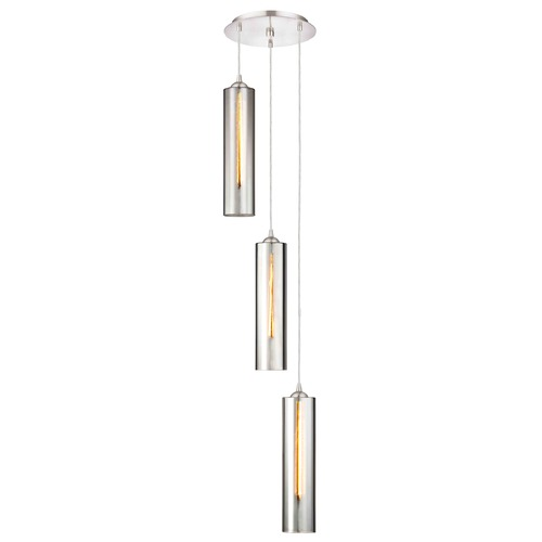 Design Classics Lighting Gala Fuse Satin Nickel Multi-Light Pendant with Cylindrical Shade 583-09 GL1652C