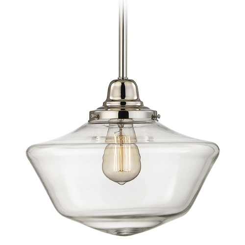 Design Classics Lighting 12-Inch Clear Glass Schoolhouse Pendant Light in Polished Nickel Finish FB4-15 / GA12-CL