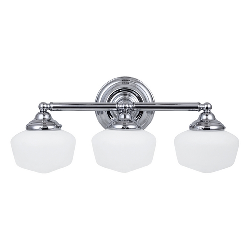 Sea Gull Lighting Schoolhouse Bathroom Light with White Glass in Chrome Finish 44438-05