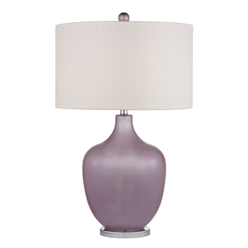 Dimond Lighting Table Lamp with White Shades in Lilac Luster with Polished Nickel Finish D2531