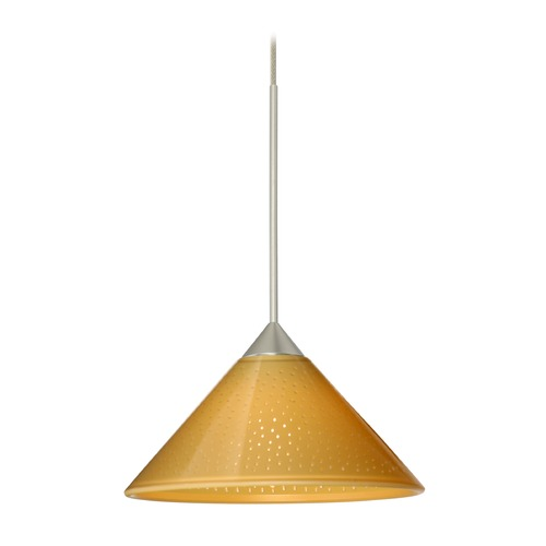 Besa Lighting Besa Lighting Kona Satin Nickel Mini-Pendant Light with Conical Shade 1XT-282490-SN