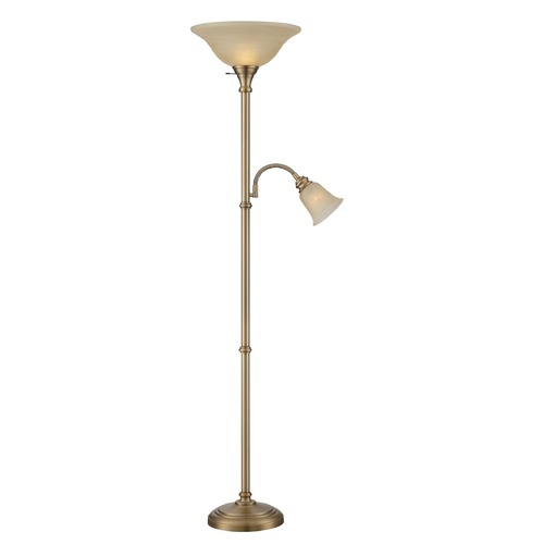 Lite Source Lighting Lite Source Henley Antique Brass Torchiere Lamp with Bell Shade LS-82550AB