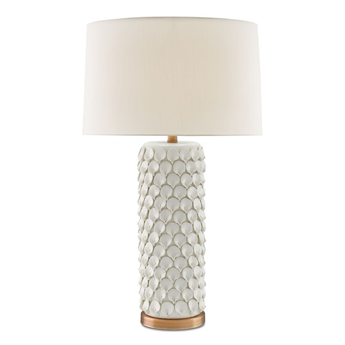 Currey and Company Lighting Currey and Company Calla Lily Cream/antique Brass Table Lamp with Drum Shade 6000-0067