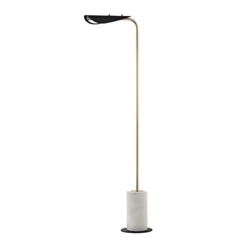 Mitzi by Hudson Valley Mid-Century Modern LED Floor Lamp Brass / Black Mitzi Layla by Hudson Valley HL157401-AGB/BK