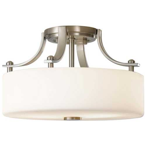 Feiss Lighting Modern Semi-Flushmount Light with White Glass in Brushed Steel Finish SF259BS