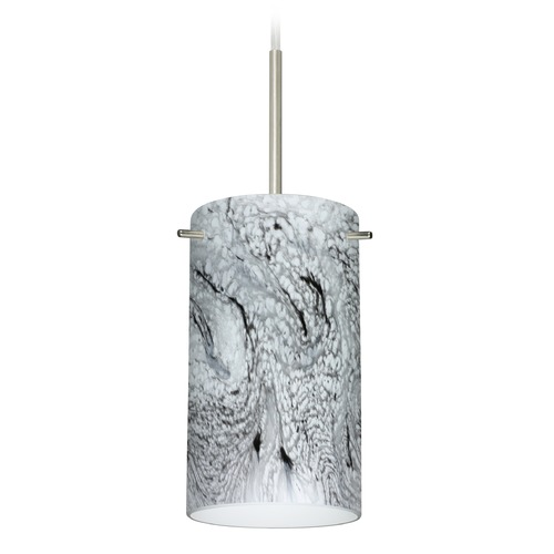 Besa Lighting Besa Lighting Stilo Satin Nickel Mini-Pendant Light with Cylindrical Shade 1BT-4404MG-SN