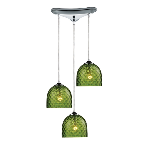 Elk Lighting Multi-Light Pendant Light with Green Glass and 3-Lights 31080/3GRN