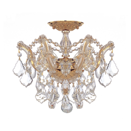 Crystorama Lighting Crystal Semi-Flushmount Light in Polished Gold Finish 4430-GD-CL-S