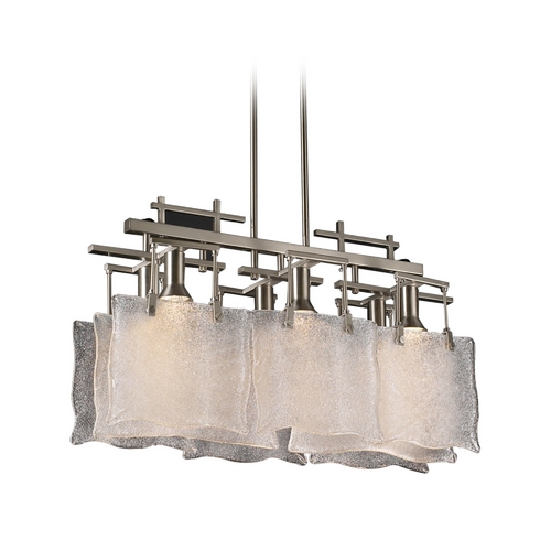 PLC Lighting Modern Pendant Light with White Glass in Satin Nickel Finish 23035 SN
