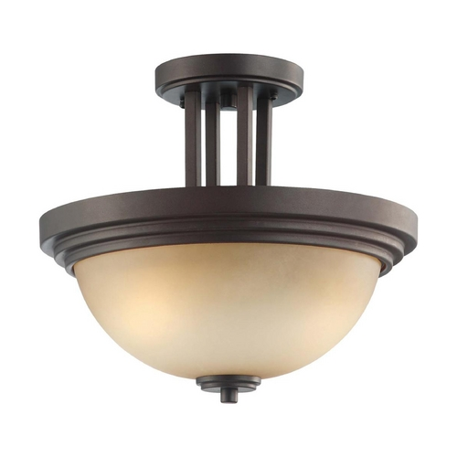 Nuvo Lighting Modern Semi-Flushmount Light with Beige / Cream Glass in Dark Chocolate Bronze Finish 60/4127