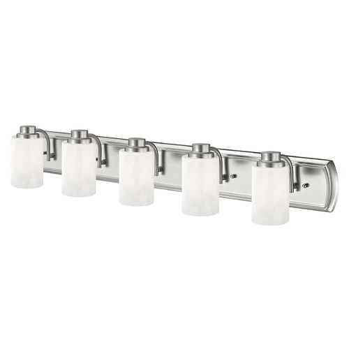 Design Classics Lighting 5-Light Bath Bar in Satin Nickel and Satin White Glass 1205-09 GL1028C