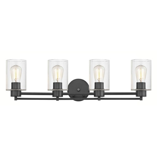 Design Classics Lighting Industrial Clear Glass Bathroom Light Black 4 Lt 704-07 GL1040C