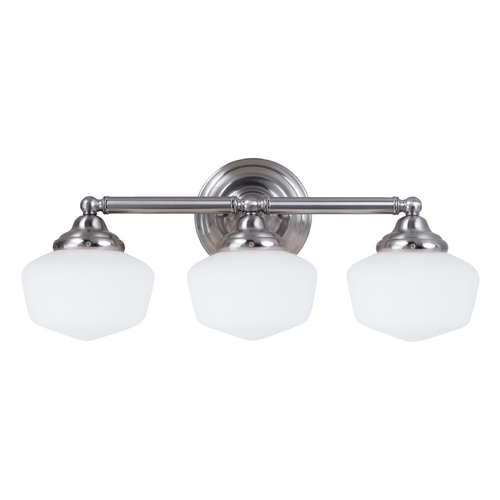 Sea Gull Lighting Schoolhouse Bathroom Light with White Glass in Brushed Nickel Finish 44438-962