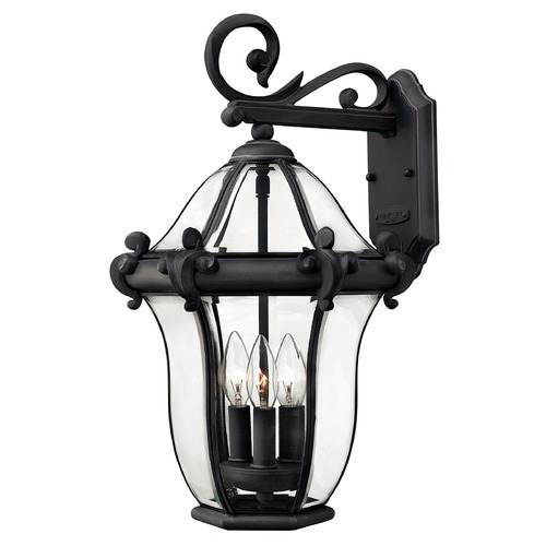 Hinkley Outdoor Wall Light with Clear Glass in Museum Black Finish 2444MB