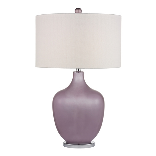 Dimond Lighting Table Lamp with White Shades in Lilac Luster with Polished Nickel Finish D2531-LED