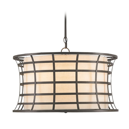 Currey and Company Lighting Currey and Company Lighting Coleville Bronze Gold Pendant Light with Drum Shade 9363