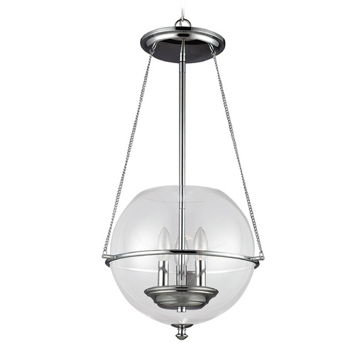 Sea Gull Lighting Sea Gull Lighting Havenwood Chrome Pendant Light with Globe Shade 6511903-05