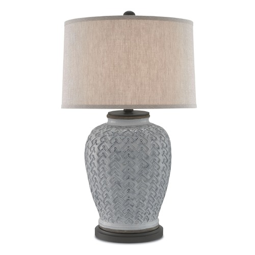 Currey and Company Lighting Currey and Company Dodington Antique White/hiroshi Gray Table Lamp with Drum Shade 6000-0068
